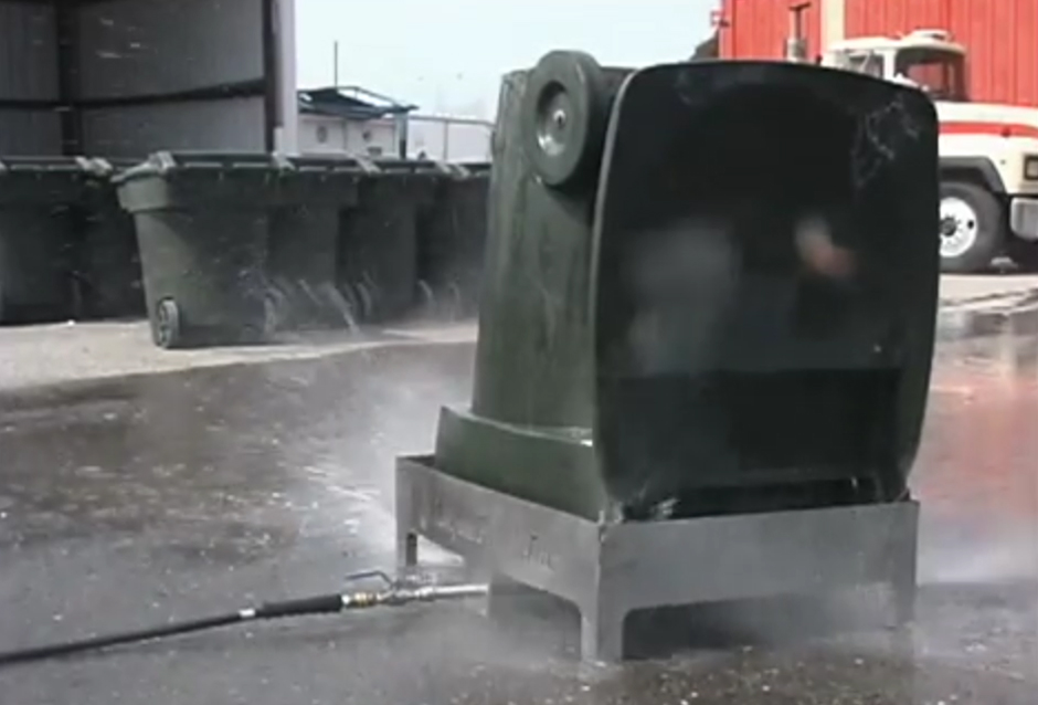 Container cleaning video industrial water driven